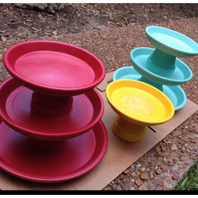 Diy Cake Amp Cupcake Stands Painted Flower Pots Amp Saucers