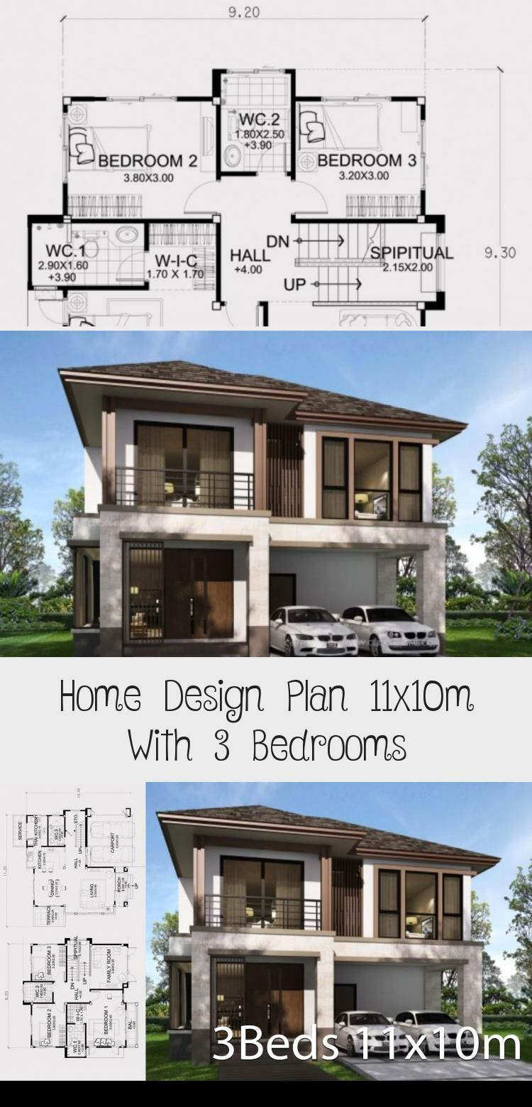 Home Design Plan 11x10m With 3 Bedrooms Home Ideas Modernhouseexteriorfence Modernhouseext In 2020 Home Design Plan Modern House Exterior Exterior House Renovation