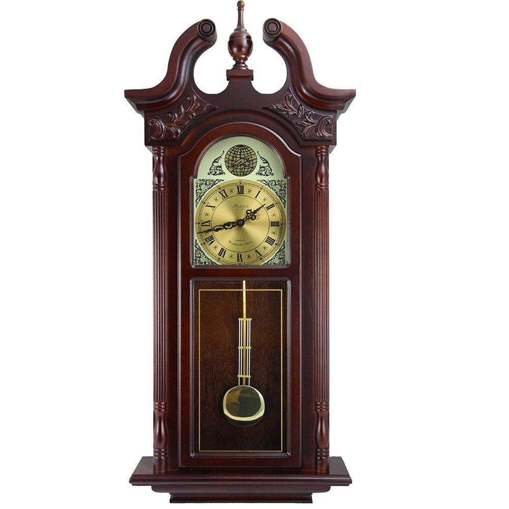 Bedford 38u201d Grand Colonial Cherry Oak Grandfather Wall Clock + Pendulum U0026  Chime