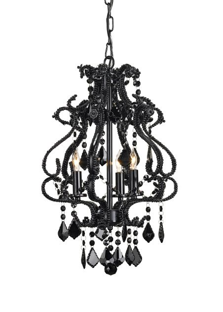 Small Black Crystal Beaded Chandelier By Currey Co Black