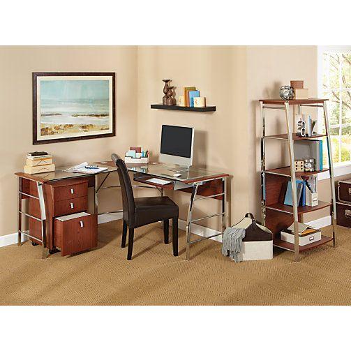Realspace Mezza 62 W L Shaped Desk Cherry Chrome Item 620475 Glass Computer Desks L Shaped Desk Desk