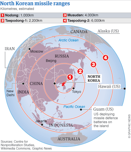 North Korean Missile Map Map Pinterest Mappe - Map of us missile defense systems