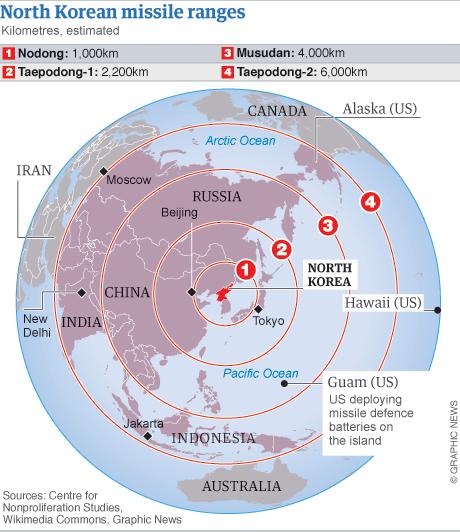 north korean missile map