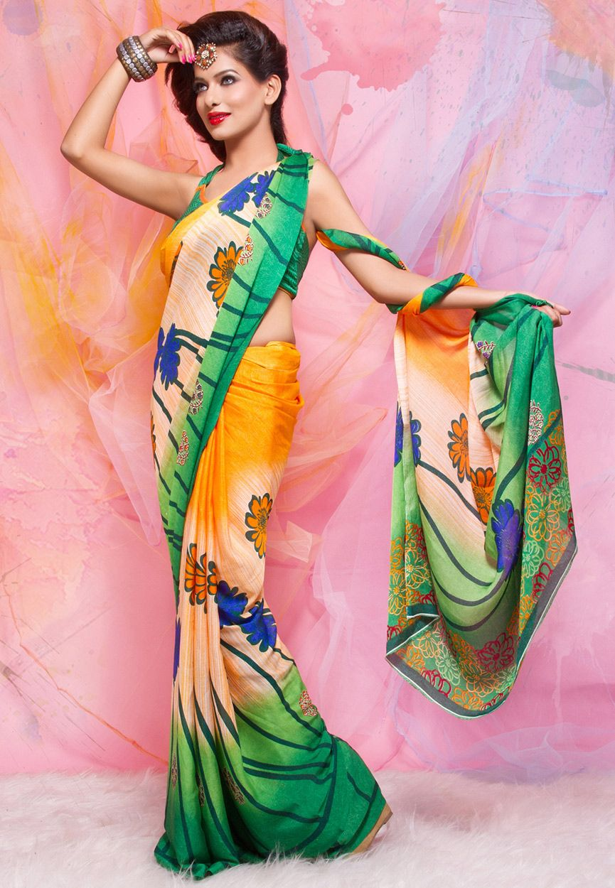 Orange, Peach and Green Faux Crepe Saree with Blouse Online Shopping: SES182B