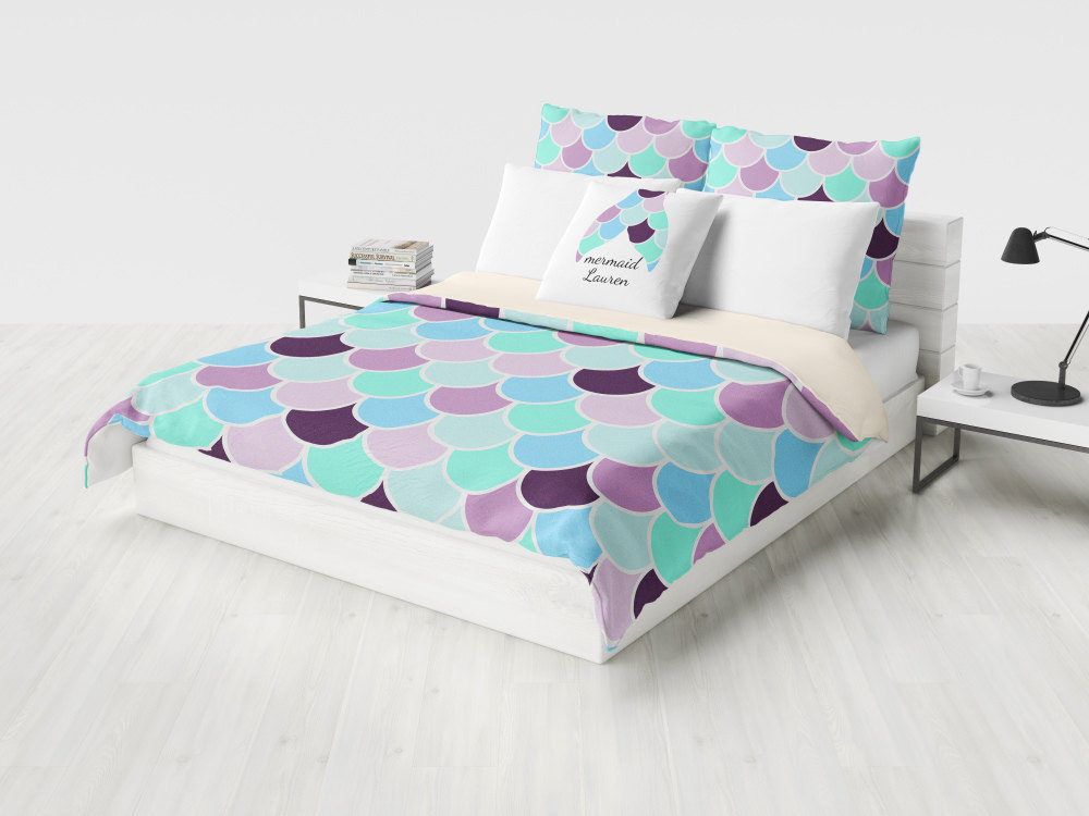 Mermaid Bedding Duvet Cover Aqua Mint Purple Comforter