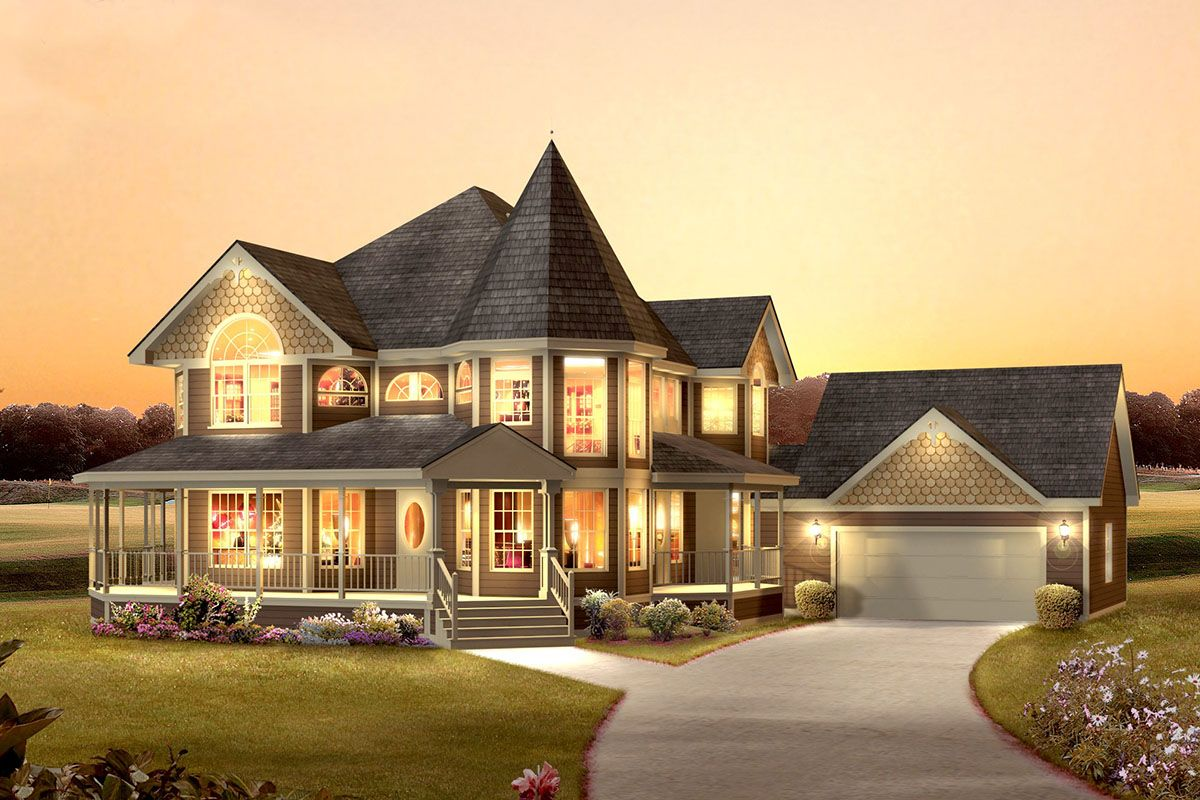 House Plan 5633 00385 Victorian Plan 2 560 Square Feet 4 Bedrooms 2 5 Bathrooms Victorian House Plans Modern Victorian Homes Family House Plans