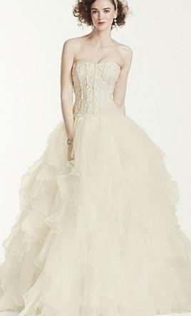 Oleg Cassini Strapless Ruffled Skirt Wedding Dress, $1,000 Size ...