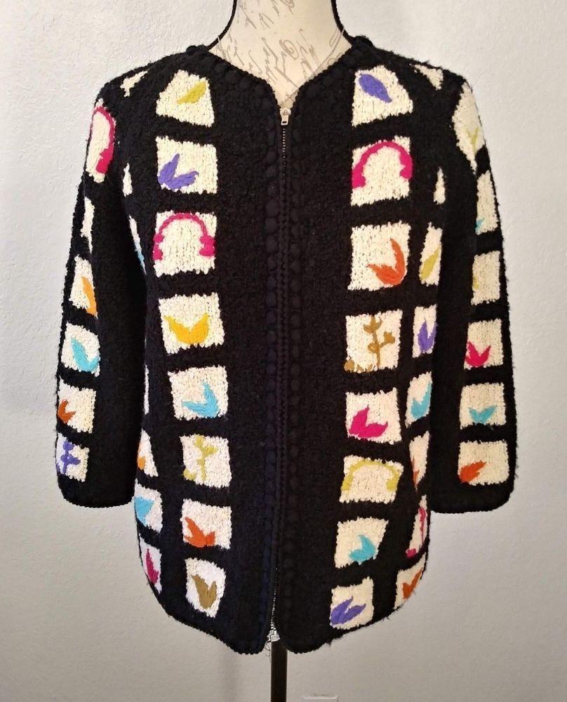 948088e4e2c1 Ilaria Italy Hand Knit Sweater Black Beige Square Leaf Zip Up Womens Small  #Ilaria #CardiganSweater