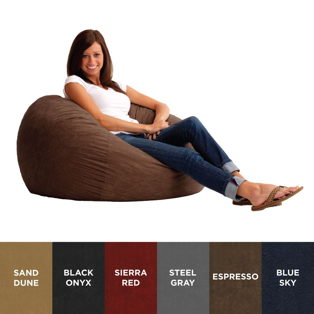 FufSack 3 Foot Large Memory Foam Microfiber Bean Bag Chair