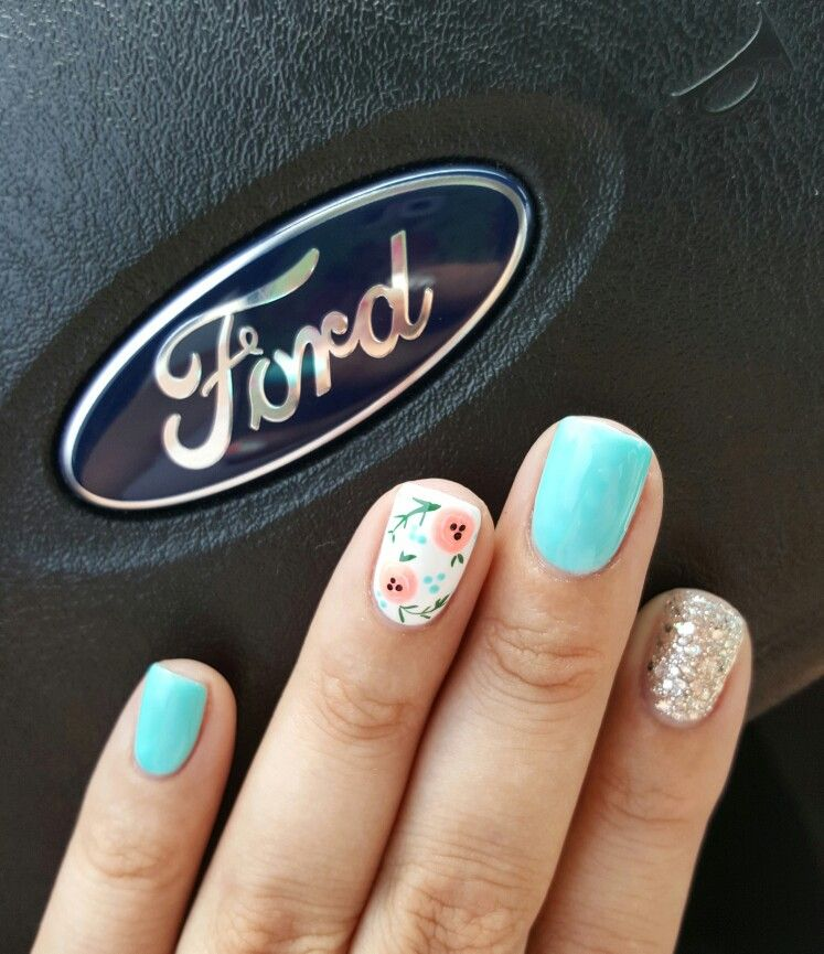 Summer nail design with accent nails - Teal, silver glitter and ...