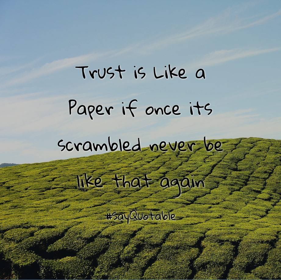 Quotes About Trust Is Like A Paper If Once Its Scrambled Never Be Like That  Again
