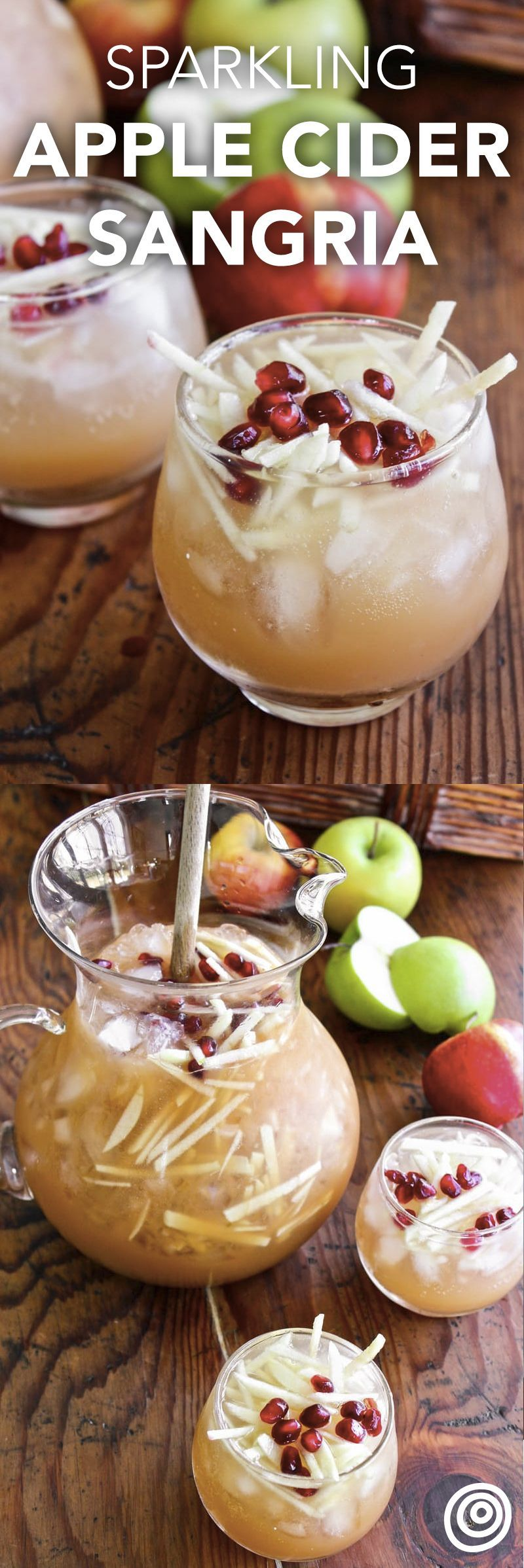 Sparkling Apple Cider Sangria Sparkling Apple Cider Sangria Recipe. This is a great idea for party punches this fall and winter. Try this crowd pleaser, easy, pitcher drinks or pitcher cocktail for a crowd at one of your holiday (hello, Halloween and Thanksgiving) parties this year! You'll need, apples (it's a great way to use them up), cognac, cider, cava, and pomegranate seeds or arils. This contains alcohol, but we've got an alternate recipe to make it non-alcoholic too.