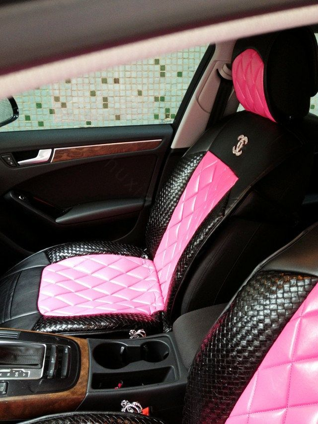 Luxury Diamond Chanel Universal Automobile Leather Car Seat Cover Cushion Leather Car Seat Covers Leather Car Seats Girly Car Accessories