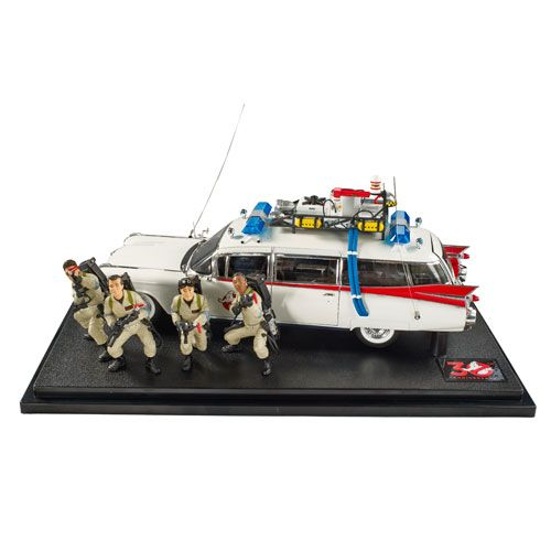 (affiliate link) Ghostbusters 30th Anniversary Ecto-1 Elite Cult Classics Hot Wheels 1:18 Scale Die-Cast Vehicle with Figures