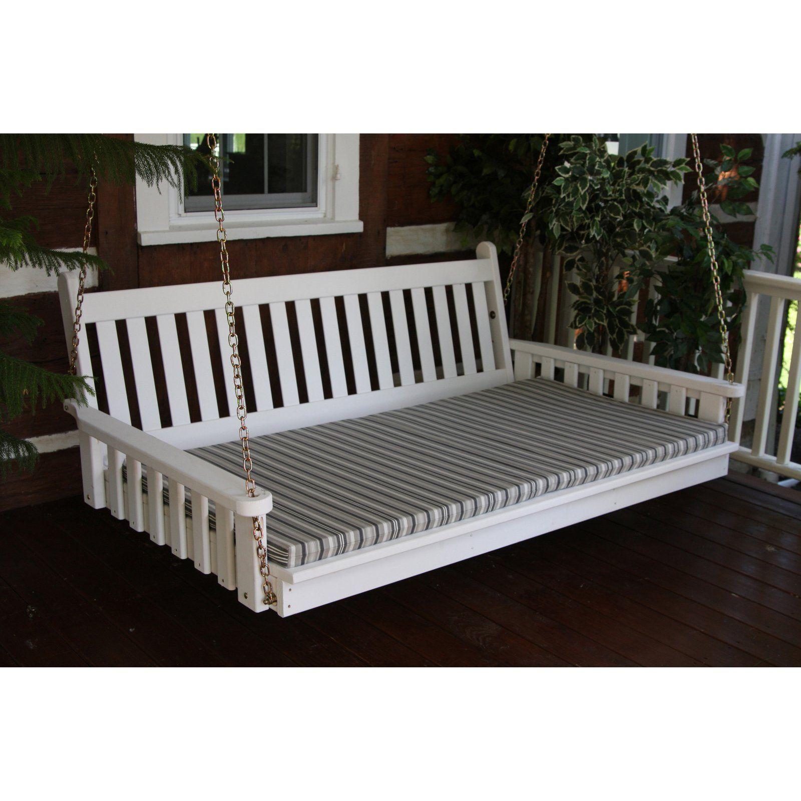 A L Furniture Sundown Agora 4 Ft Swing Bed Cushion Gray Stripe