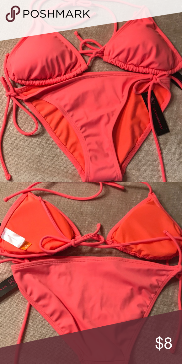 400c2ceaf0245 No Boundaries 👙 Orange Bikini No Boundaries 👙 Orange Bikini Top is a  medium & bottom is a small, but both are adjustable. Modesty pads included  in the ...