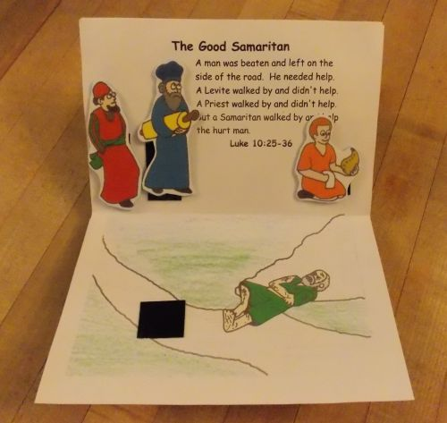 Pop up of the good samaritan parable bible jesus and for Bible story crafts for kids