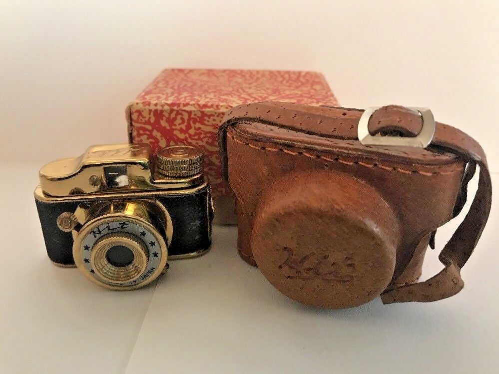 Vintage Hit Miniature Japanese Spy Camera Gold Wash Leather Case Box 1950s Rare