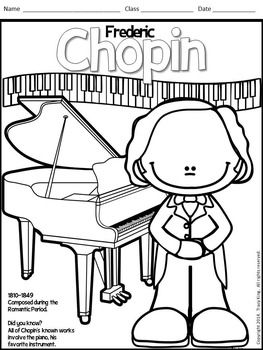 Meet The Composers Set Of 12 Coloring Sheets Coloring Book For