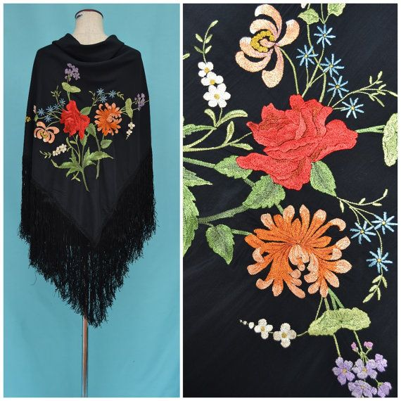 Vintage piano shawl Beautiful 1900s / 1920s black hand