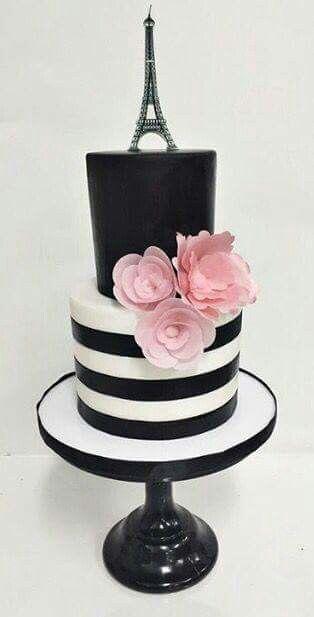 Cute black and white Paris themed cake Cake Ideas Pinterest