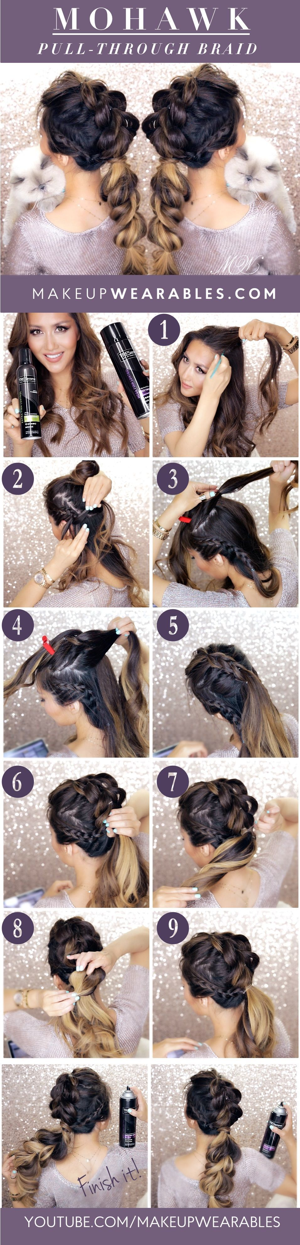 Mohawk pull through braid hairstyle makeupwearables hair tutorial