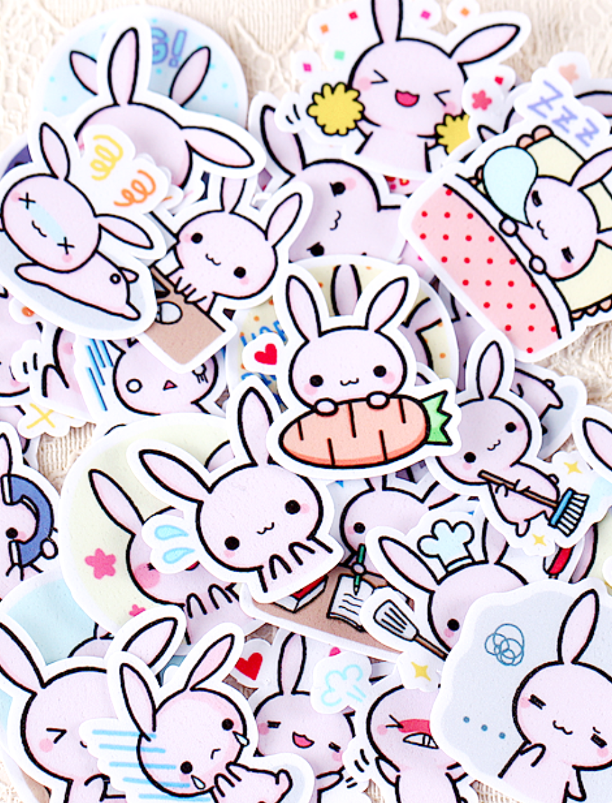 Let these adorable bunny stickers brighten up your diary planner and other favorite stationery they are made out of coated paper that is subtly shiny and