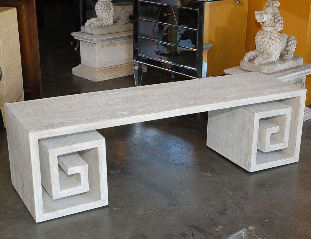 Paul Marra Solid Oak Greek Key Table/Bench