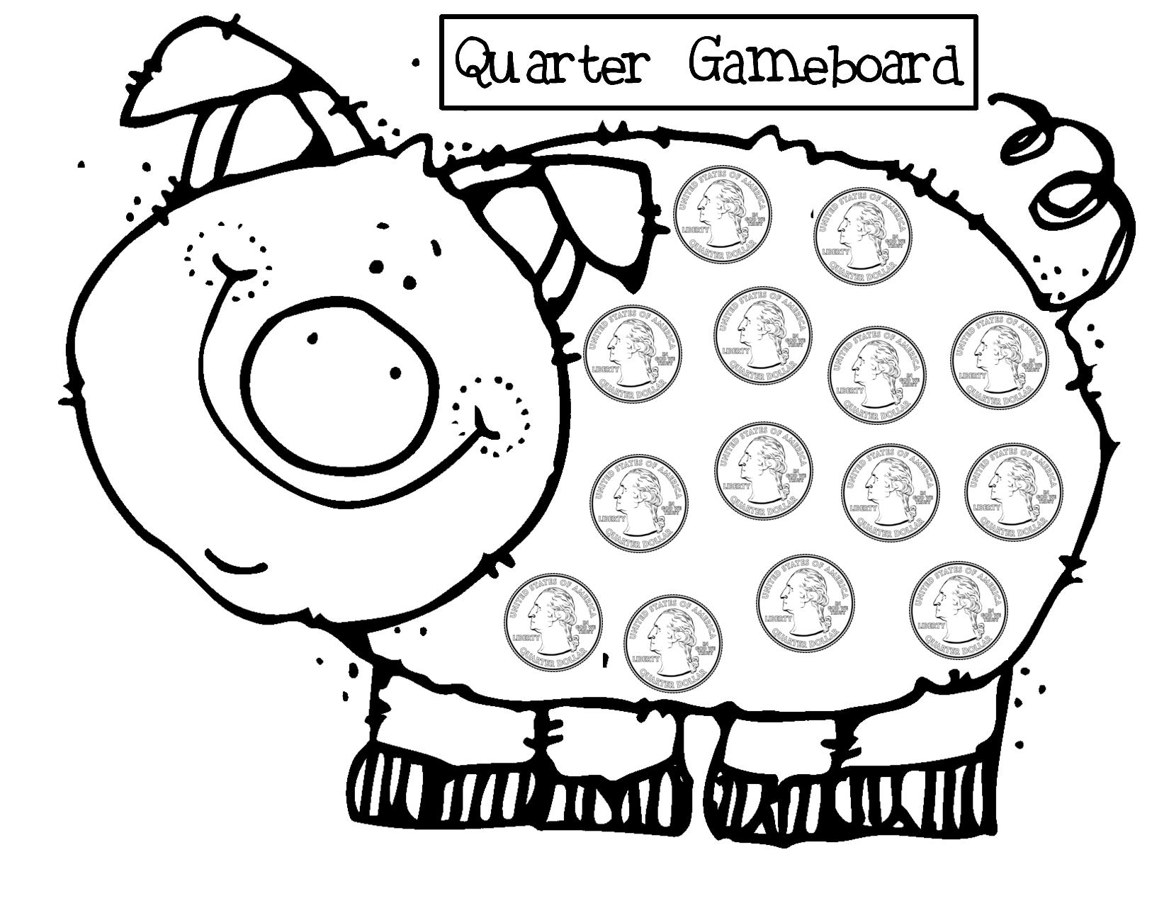Quarter Piggy Bank Using Pennies Nickels And Dimes Helper