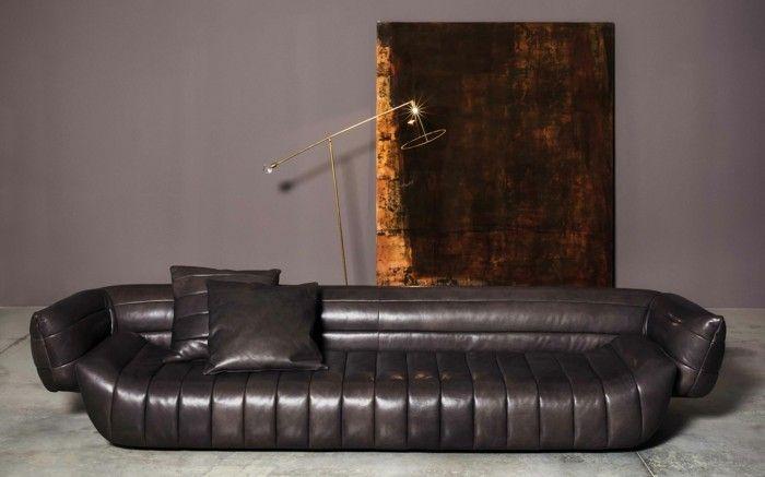Baxter Sofa Tactile Couch Leder Glatt Moderne Stehlampe Mobel