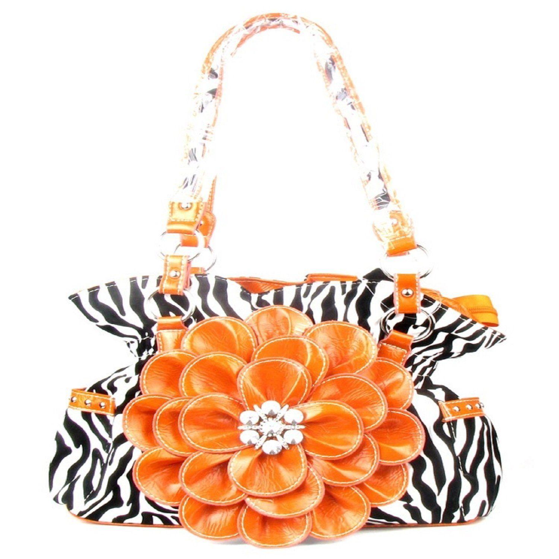 Handbags, Bling & More! Orange Zebra Print Twist Clutch Flower Rhinestone Fashion Handbag : Flower Purses