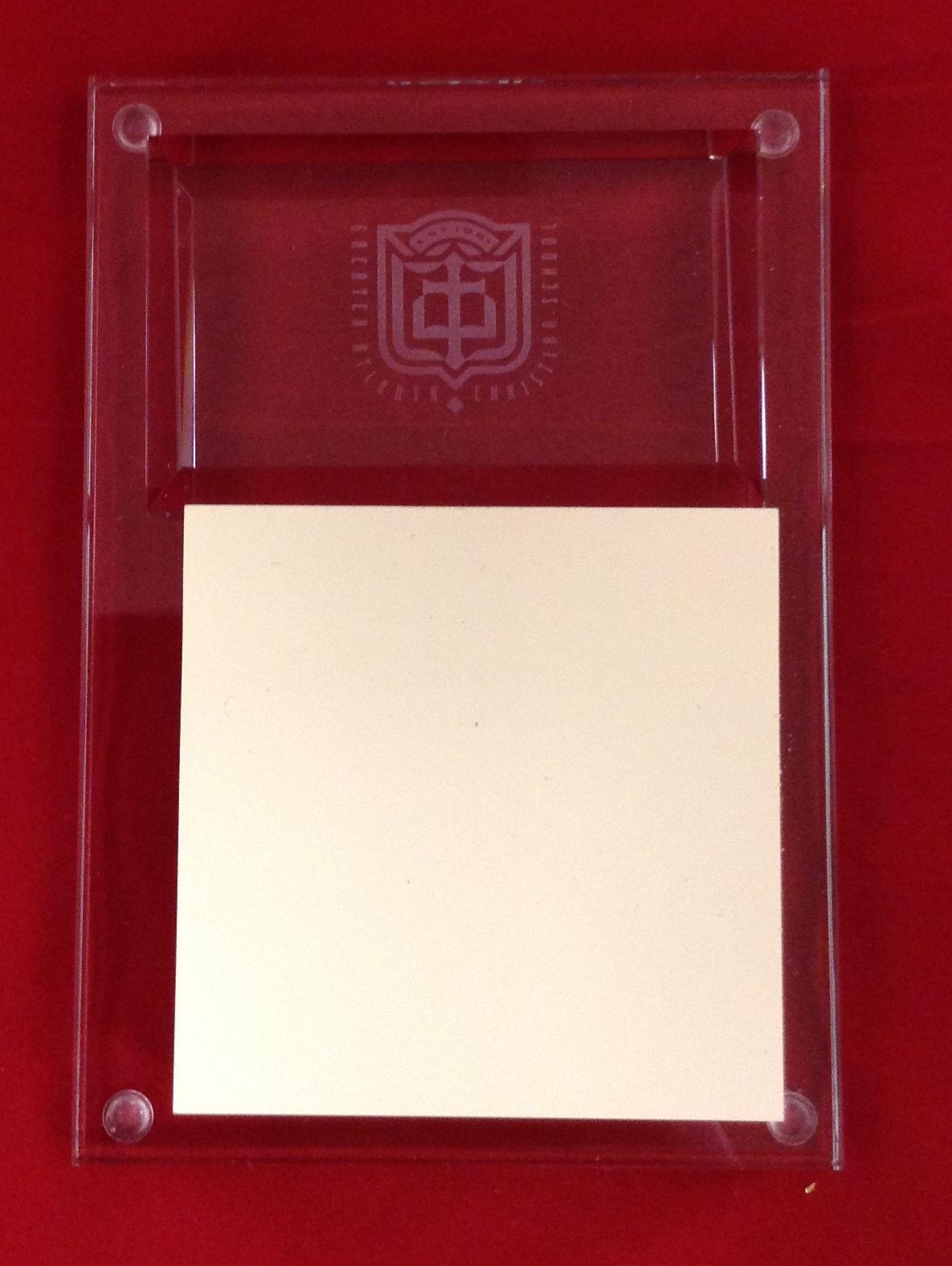 Engraved glass postit holder post it holder post it