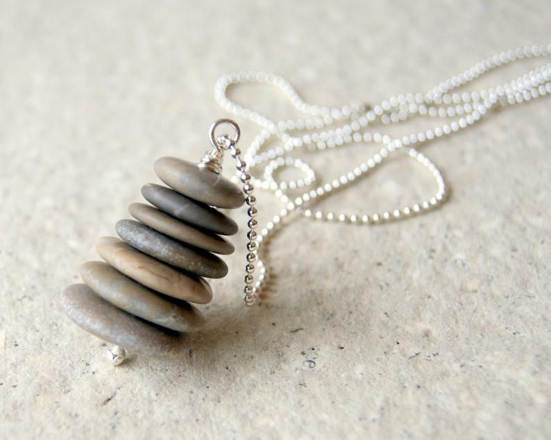 Photo of Zen Cairn Necklace with Silver Plated Ball Chain