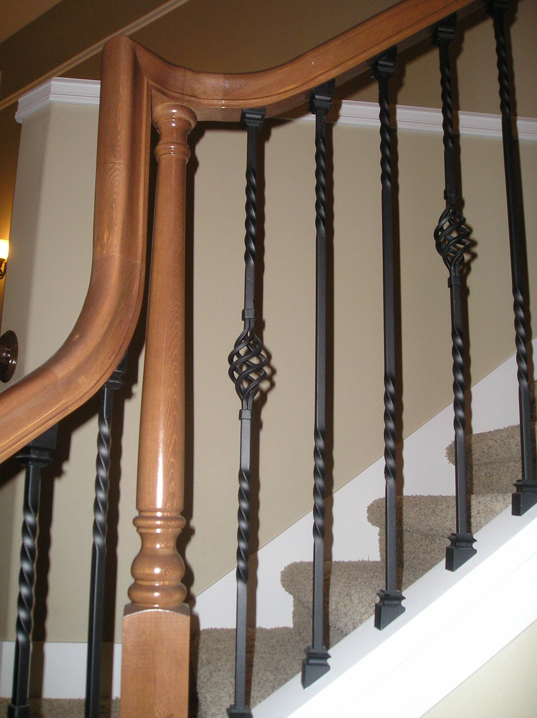 Best Hemlock Stair Railing With Wrought Iron Pickets Home 640 x 480