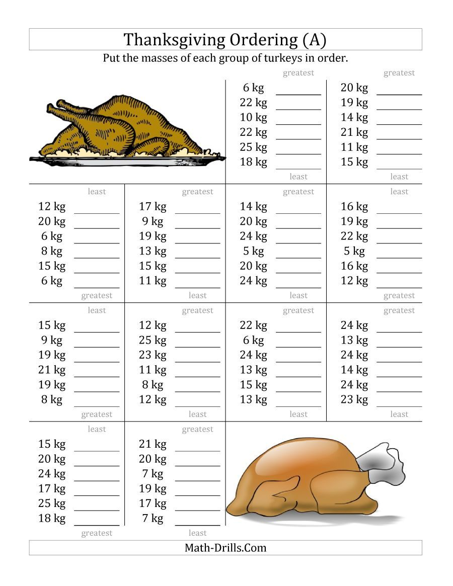 The Ordering Turkey Masses In Kilograms A Math Worksheet From The Thanksgiving Math Worksheets Thanksgiving Math Worksheets Thanksgiving Math Math Worksheets