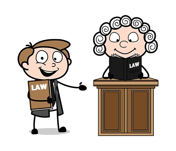 Cartoon Lawyer Presenting A Judge Reading A Law Book Vector