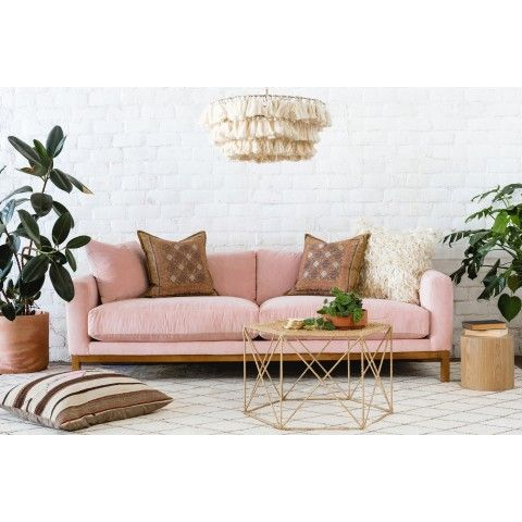 Maxwell Velvet Sofa, Navy is part of Living room sofa - Featuring feather soft cushions and pine wood legs, the Maxwell Velvet Sofa will give your living space a California modern feel