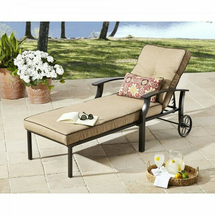 Details about patio chaise lounge chairs tan steel outdoor