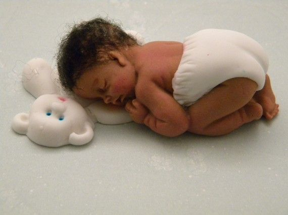 """BABY with Bottle and Blanket ~ KEEPSAKE GIFT ~ POLYMER CLAY BABY BOY 2.5/"""".."""