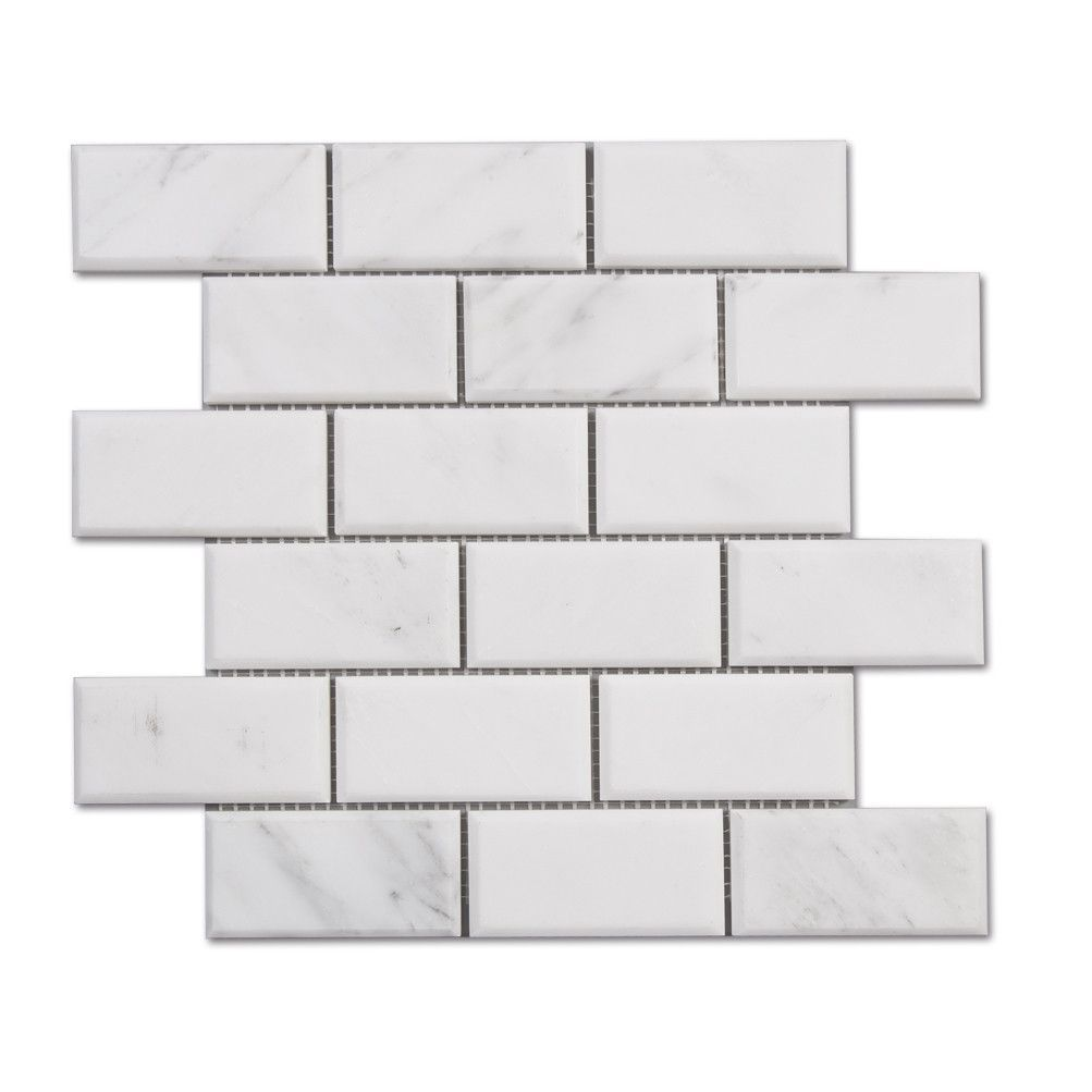 Venato carrara polished marble 2x4 beveled subway tile carrara carrara carrera white marble beveled brick subway tile 12x12 sheets dailygadgetfo Choice Image