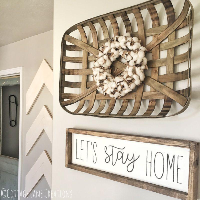 Lets Stay Home Sign  h o m e  Farmhouse wall decor
