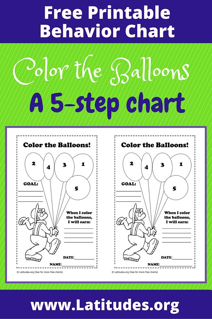 FREE Behavior Chart (Color the Balloons | PBIS | Pinterest ...