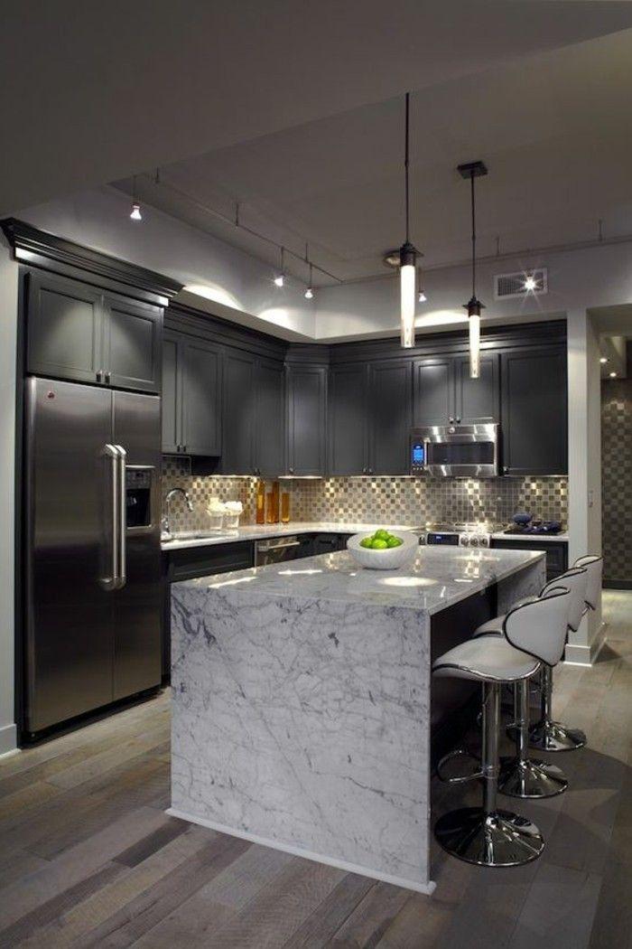 arbeitsplatte marmor graue küche gestaltung | moderne küchen ... - Graue Kche