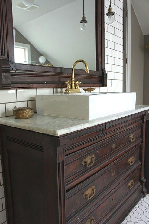 Vintage dresser retrofitted for bathroom vanity client - Bathroom vanities from old dressers ...