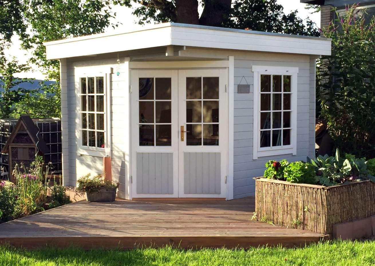 5Eck Gartenhaus Modell Monica28 mit Flachdach 5 eck