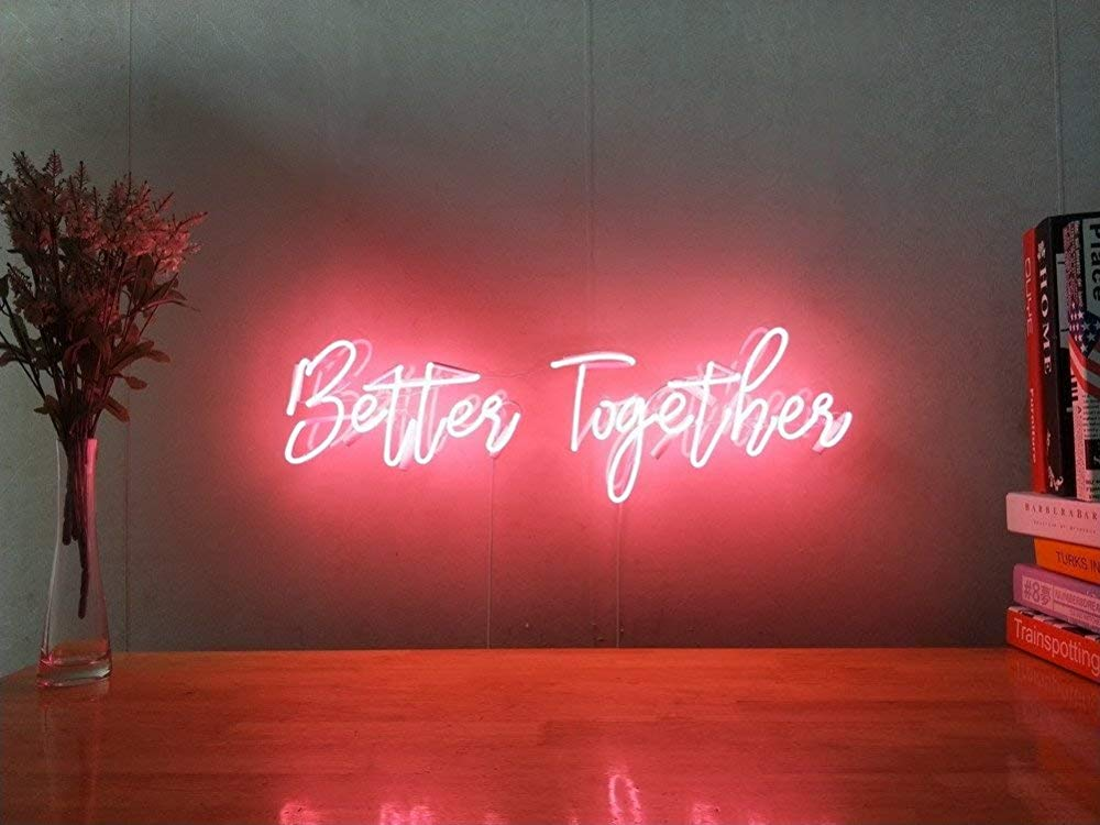 Amazon Com Better Together Custom Dimmable Led Neon Signs For Wall Decor Customization Options Color Size Neon Sign Bedroom Neon Signs Neon Lights Bedroom