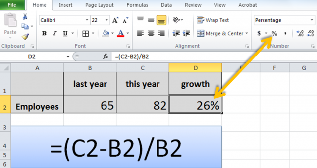 Growth formula in Excel
