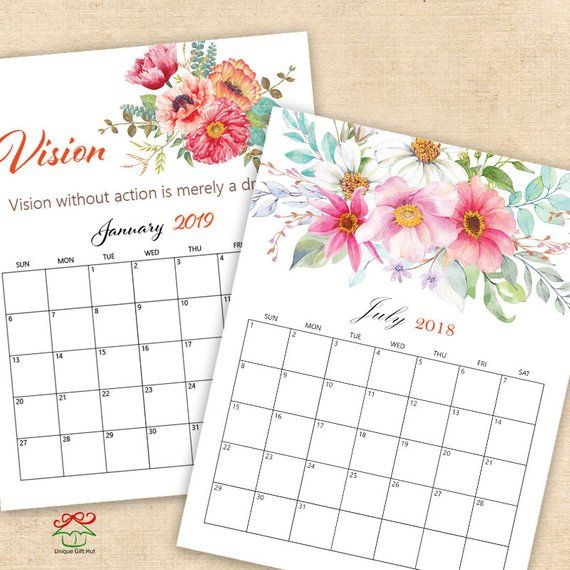 2019 2020 Floral Desk Calendar: 2019,2020 Digital Printable Calendars, Watercolor Floral