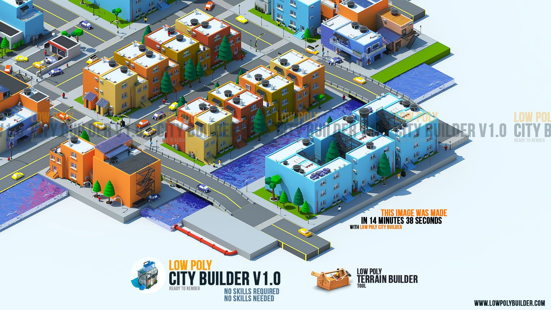 low poly city builder 3D MAX Plugin 1000 3d assets and objects ready
