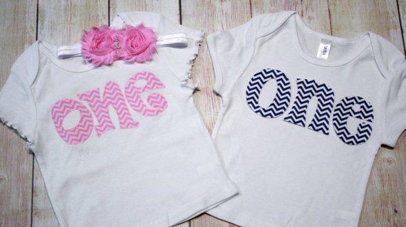 57cd4e5f0 TWIN BIRTHDAY Set, Boy Girl Twin Birthday Shirts - Pink and Navy Blue  Chevron ONE Shirts